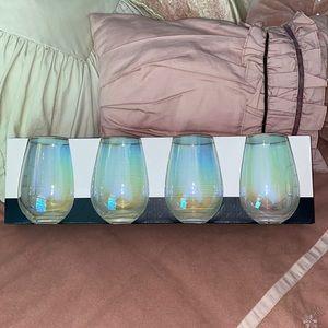 NWT! Rachel Zoe Stemless Wine Glasses w/Gold Rim!